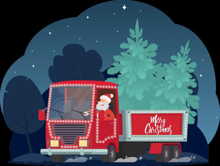 Santa Delivering Trees in a Van