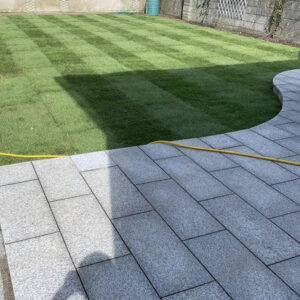 Lawn and curved pavement